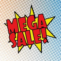 mega sale comic explosion retro design deal tag