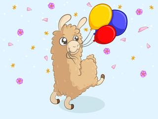 Geburtstags Alpaka mit Luftballons