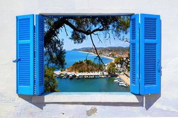 Sea view through traditional greek window in Thassos island