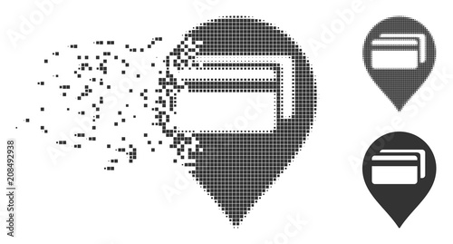 Fractured ATM terminal pointer pixel icon with