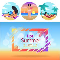 Hot Summer Days Woman Set Vector Illustration
