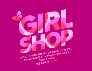 Vector pink Girl Shop logo. Graphic Style Font. Colorful pattern Alphabet Letters, Numbers and Symbols