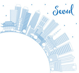 Outline Seoul Korea Skyline with Blue Buildings and Copy Space.