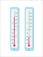 Thermometer, Außenthermometer,  Vektor Illustration isoliert auf weißem Hintergrund