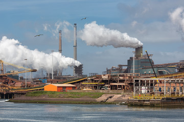 Big steel factory in harbor IJmuiden, The Netherlands