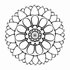 Fantasieblume – Sonnenrad - ornamentierte Blume zum Ausmalen