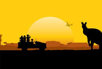 Silhouette of Australian Safari, vector