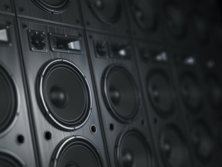 Multimedia  acoustic sound speaker system. Music  concept background.