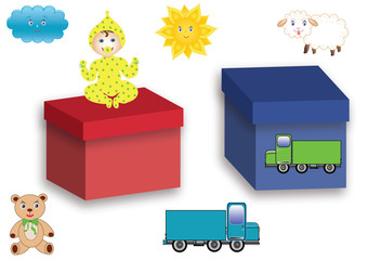 The symbols with images of toys and boxes for boys and girls, isolated, vector format.