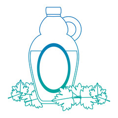sweet maple syrup bottle and leafs vector illustration design