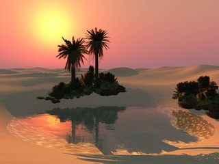 Oasis in the sandy desert at sunset, a lake in the sands with palm trees,