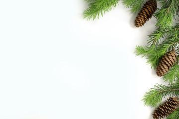 Christmas composition. Christmas border of fir branches fir cone. Christmas Wallpaper. Flat position.