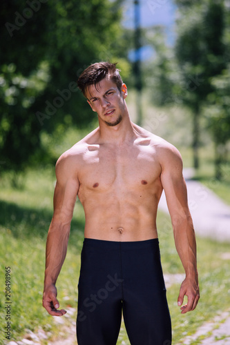 Nude male fitness models