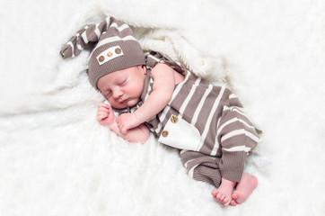 portrait of a sleeping infant baby boy