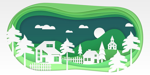 Country landscape - modern vector paper cut illustration