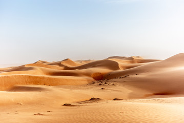The dunes of the Wahiba Sands desert in Oman at sunset during a typical summer sand storm - 18