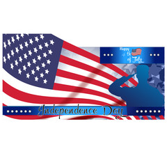 Happy Fourth of July. Independence Day of the United States, July 4th. Home of the brave. Hand lettering greeting card with textured letters.