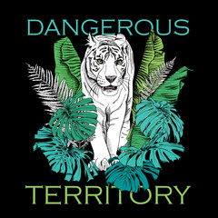 Poster with image of a white tiger walking in green banana leaves, fern, monstera on a black background. Vector illustration.