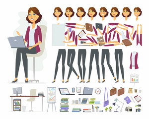 Businesswoman - vector cartoon people character constructor