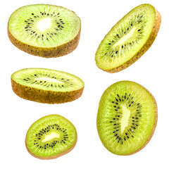 sliced kiwi fruit set isolated on white background with clipping path