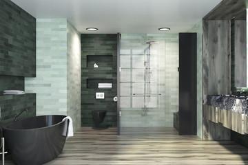 White and emerald luxury bathroom interior
