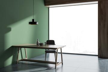 Panoramic green dining room interior