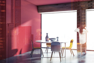 Minimalistic panoramic red dining room, woman