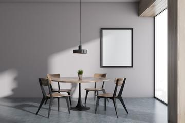 Minimalistic panoramic white dining room, frame