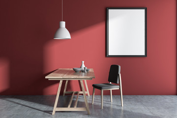 Minimalistic red dining room, mock up frame