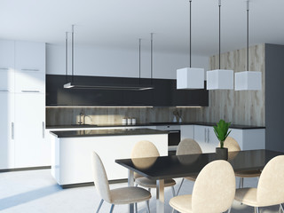 White, black and wooden kitchen interior close up