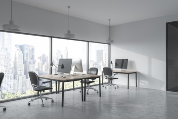 Panoramic office corner, cityscape