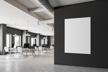 Dark gray minimalistic office corner, poster
