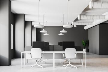 Dark gray industrial style office interior