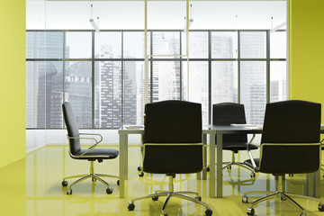 Bright yellow office meeting room interior
