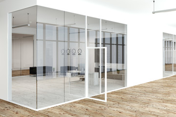 White and glass wall office manager lobby