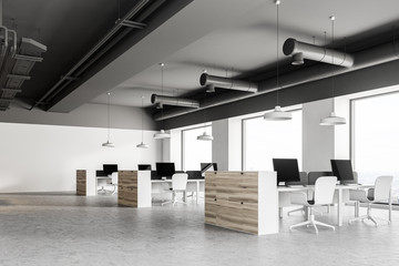 Gray ceiling industrial style office corner