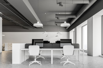 Gray ceiling industrial style office interior