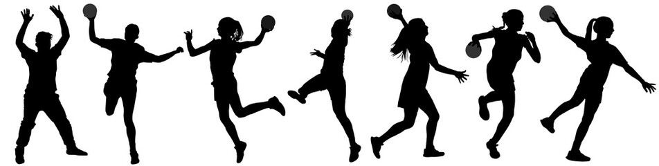 Handball player in action vector silhouette illustration isolated on white background. Woman handball player symbol. Handball girl jumping in the air. Handball (soccer) goalkeeper silhouette vector.