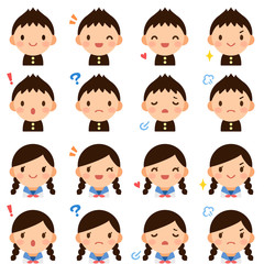 Isolated set of cute junior high school student boy & girl flat avatar expressions