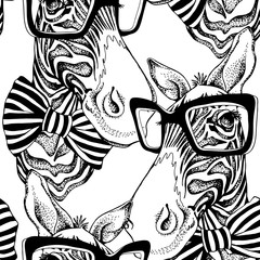 Seamless pattern. Zebra portrait in a striped tie with a glasses. Vector black and white illustration.