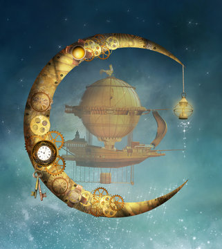 Steampunk moon and vessel