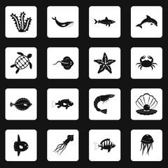Sea animals icons set in white squares on black background simple style vector illustration