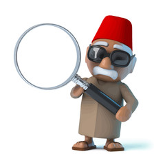 Vector 3d Moroccan with a magnifying glass