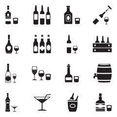 Alcoholic Drinks Icons. Black Flat Design. Vector Illustration.