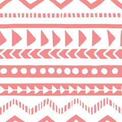 Seamless white and pink geometric background. Ethnic hand drawn pattern for wallpaper, cloth, cover, textile