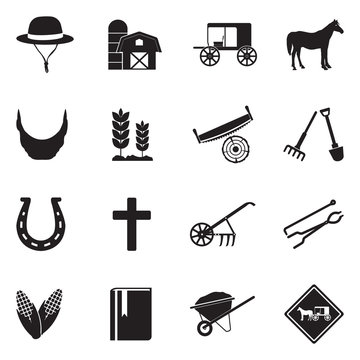 Amish Icons. Black Flat Design. Vector Illustration.