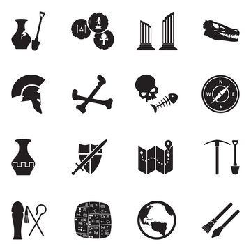 Archeology Icons. Black Flat Design. Vector Illustration.