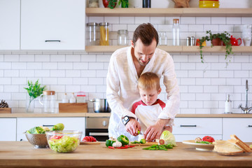 Picture of young father and son cooking at table with vegetables