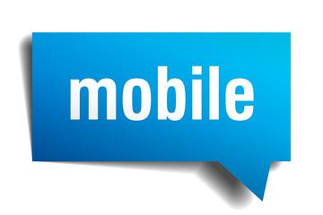 mobile blue 3d speech bubble