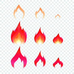 Fire vector icon symbol on transparent background